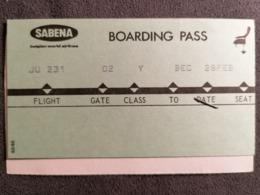 Old Heavy Paper  Re - Boarding Pass SABENA  AIR LINES. Cca 1960's Airwais Airport - Instapkaart