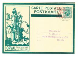500/30 --Empreinte Mécanique 5 C S/ Entier Illustré ORVAL Sans Ange Vert Foncé - BRUXELLES 1931 - Cat. SBEP NON SIGNALE - Ganzsachen