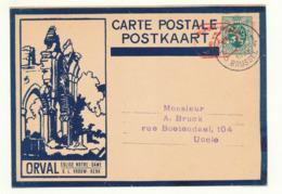 501/30 --Empreinte Mécanique 5 C S/ Entier Illustré ORVAL Sans Ange Bleu Foncé - BRUXELLES 1931 - Cat. SBEP NON SIGNALE - Ganzsachen