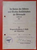 Dokument WW2 Verleihungsurkunde Kriegsverdienstkreuz 2. Klasse Mit Schwertern Hauptfeldwebel 1942 Berlin Dahlem Flak - Germania