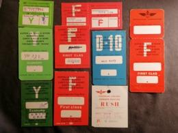 Old Heavy Paper Large Lot 8+1 Of Boarding Pass JAT Yugoslav Airlines Cca 1960's Airwais Airport - Instapkaart