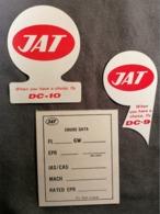 Old Heavy Paper Lot 2 Beautiful Unused Sticker Label+1 Cruise Data JAT Yugoslav Airlines Cca 1960's Airwais Airport - Instapkaart