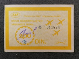 Old Paper BON  JAT Yugoslav Airlines OOUR Ugostiteljstvo 2,00 DIN Cca 1960's Airwais Airport - Instapkaart