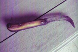 Ancien Couteau - Couteau Serpette De Vigneron - Manche Corne - Estampille Outil ( Lame De Faux ?) à Identifier - Armi Bianche