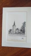 Dessin Original De L'église Notre-Dame De Givet. Claude Stroppa, Artiste D'Aubrives, - Dessins