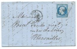 N° 14 BLEU NAPOLEON SUR LETTRE / CAEN POUR VERSAILLES / 27 MARS 1862 - 1849-1876: Classic Period