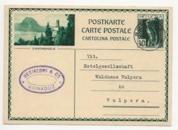 """Schweiz Suisse 1931: Bild-PK / CPI """"CASTAGNOLA"""" Mit O BONADUZ 01.VII.20 (effektiv 30.8.31 Nach Vulpera - Entiers Postaux"""