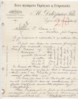 Charente: M. DELEZINIER à Cognac, Bois, Merrains Fs & Etrangers / Lettre De 1885, Filigrane - France