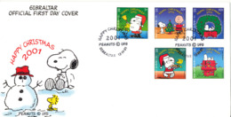 Gibraltar FDC 12-11-2001 Happy Christmas 2001 Complete Set Of 5 With Cachet - Gibraltar