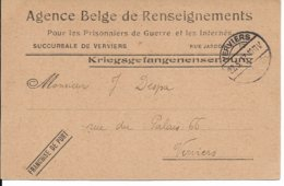 Portvrije Poststukken Agence Belge De Renseignements, Van VERVIERS - Guerre 14-18