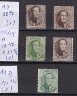 N° 13 Et 14  Second Choix ( X ) : Neuf Sans Gomme  COB 402.50 - 1863-1864 Medaillen (13/16)