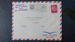 Reunion Lettre De Le Port 1969  Type Cheffer Surcharge 20 Fr CFA  Pour La France - Réunion (1852-1975)