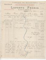Nord: LAPORTE Frères, R. De L'Ermitage à Croix, Fabrique De Bonneterie / Fact De 1923, Filigrane - 1900 – 1949