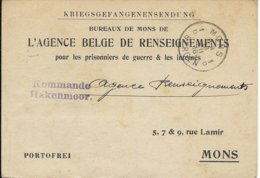 Kriegsgefangenensendung - Agence Belge De Renseignements - WW I