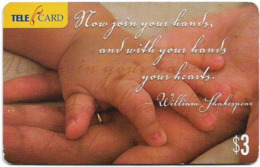 Fiji - Telecom Fiji - Famous Words, Baby Hands Cn.04033, Remote Mem. 3$, Used - Figi