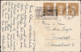 Germany - Weihnachtskarte, MiNr. 386 MeF + Werbestempel 'Kaiser-Friedrich-Quelle - OFFENBACH 24.12.1927' - Darmstadt. - Germany