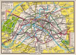 PARIS Metro Plan Du Metropolitain - Postkaarten