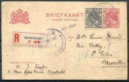 1918 Netherlands Maastricht Registered Stationery Postcard - St Gilles, Bruxelles Belgium. Censor - Period 1891-1948 (Wilhelmina)