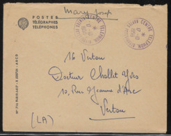 44 Nantes Centre Téléphonique Nantes Interurbain 17 Octobre 1959  Sur Enveloppe De Service Postes Télégraphes Téléphones - Postmark Collection (Covers)