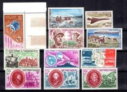 Saint-Pierre Et Miquelon Onze Timbres De Poste Aérienne Neufs ** MNH 1965/1972. TB. A Saisir! - Airmail