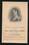 ADEL NOBLESSE - DAME MARIA De HOVRE - BERAER LEZ TERMONDE 1888 - ANVERS 1930 - Décès