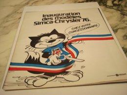 ANCIENNE   PUBLICITE INAUGURATION DES MODELES CHRYSLER DE SIMCA 1975 - Cars