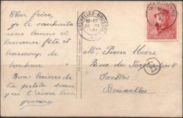 N° 168 Sur Carte Fantaisie De WENDUYNE Vers Bruxelles - 1919-1920 Trench Helmet