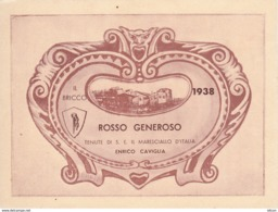 2 Belle Etichette Vintage - Il Bricco 1938 E 1940, Rosso Generoso, Cantine Del Maresciallo D'Italia Caviglia - Etichette