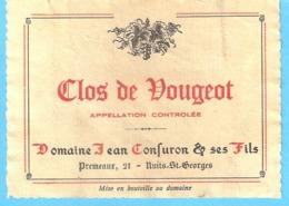 Etiquette-Vin De Bourgogne-Clos De Vougeot-Domaine Jean Confuron & Ses Fils à Premeaux (Côte-D'Or) - Bourgogne