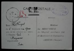 Hospice De Buzançais (Indre) 1915  Cachet Sur Carte Nouvelles Galeries à Amiens (jouets étrennes) - WW I