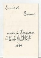 Mariage D'Emile Et Emma Le 10 Juillet 1954 à Ferrières. - Menus