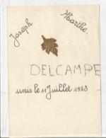 Mariage De Joseph Et Marthe. Le 11 Juillet 1953. Feuille Dorée. - Menus