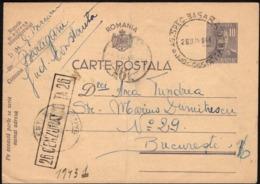Romania - 10 Lei PSC, P 108.(Cenzurat C-TA 26) Baraganu 'AG. SPEC. BASARABIA', Constanta 28.6.1944 - Bucuresti. - Entiers Postaux