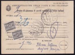 Lubiana (Ljubljana), Parcel Advice, 1942, Verticaly Creased, Rare Form - 9. WW II Occupation (Italian)