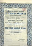 Manufacture Générale De Tabacs  J. Tirou - Diricq - Charleroi - Aandelen