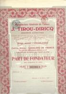 Manufacture Générale De Tabacs  J. Tirou - Diricq - Charleroi - Actions & Titres