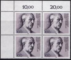 """BRD, 1990 Nr. 1466 **,  Viererblock Mit Eckrand Oben Links, """"Wilhelm Leuschner"""" - Nuovi"""