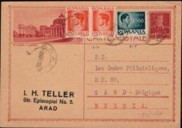 Romania - Bucuresti - L'Atenee, Illustrated P.S. Card (MiNr. P 124) ARAD 8.3.1947 - Gand, Belgium. - Postal Stationery