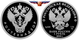 NEW Russia 1 Ruble 2019 Rostechnadzor Silver 1/4 Oz PROOF - Rusland