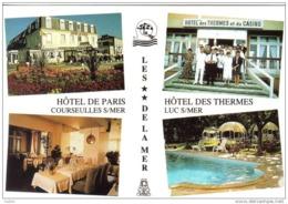 """Carte Postale 14.  Luc-sur-Mer Hotel Des Thermes Jacques Leparfait Et Courseulles Hotel """"Le Paris"""" Laurence Leparfait - Luc Sur Mer"""