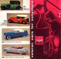 Catalogue RIO 1970 Veteran Cars For Collectors Scale 1/43 Folder  - En Anglais - Catalogues & Prospectus