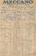 TARIFS DES BOITES ET PIECES DETACHEES DE MECANO SAISON 1935-1936.  ETAT CORRECT - Meccano