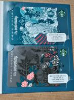 Starbucks - South Korea - 2018 - 17th Anniversary - 2 Cards In Folder - Gift Cards