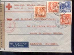 Nederlandse Indië - Luchtpost - Tegal Op Censored Cover Van Rode/Roode Kruis Geneve - Censor - Censuur - Mengfrankering - Nederlands-Indië