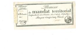 Mandat Territorial 25 Francs - Assignats
