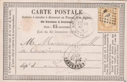 Yvert 55 Cérès Carte Précurseur Cachet Gare De BORDEAUX 16/9/1874 Losange CB à Carcassonne Aude - Entiers Postaux
