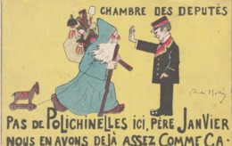CPA Chambre Des Députés Politique Satirique Polichinelles Père Janvier Père Noël Papa Noël Illustrateur A HELLE  2 Scans - Satiriques