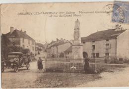 Breurey-l'es-Faverney  70   Le Monument Commemoratif Et La Rue Du Grand-Mont Animée Et Camionnette - France