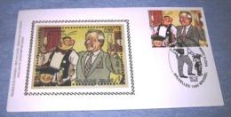 FDC Van 2002 In Zijde (Silk)  3145(o) Van Blok 100° Eerstedagstempel / Nero - Neron Van Marc Sleen 80 Jaar - FDC
