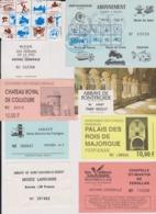 Lot 20 Tickets Visites Sites Touristiques Musée Piscine Abbayes Etc...  REGION OCCITANIE - Tickets - Entradas